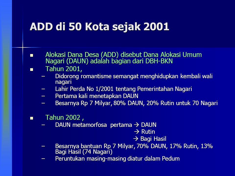 ADD di 50 Kota sejak 2001 Alokasi Dana Desa (ADD) disebut Dana Alokasi Umum Nagari (DAUN) adalah bagian dari DBH-BKN.