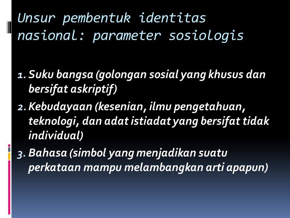 Unsur pembentuk identitas nasional: parameter sosiologis