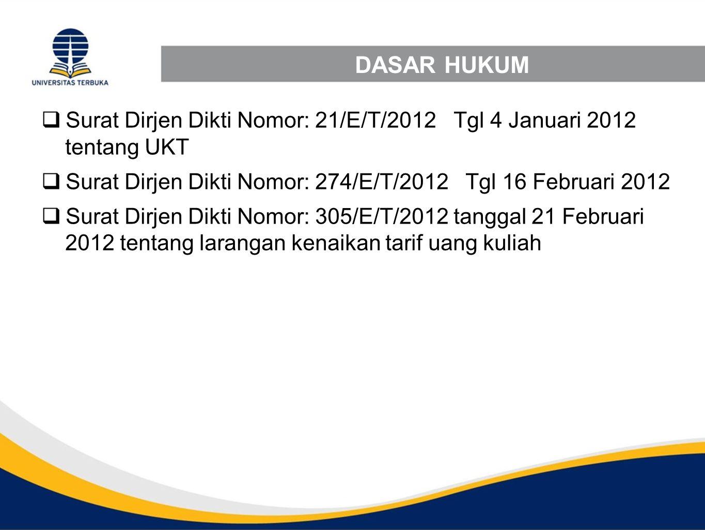 DASAR HUKUM Surat Dirjen Dikti Nomor: 21/E/T/2012 Tgl 4 Januari 2012 tentang UKT. Surat Dirjen Dikti Nomor: 274/E/T/2012 Tgl 16 Februari 2012.