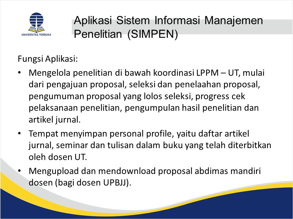 Aplikasi Sistem Informasi Manajemen Penelitian (SIMPEN)