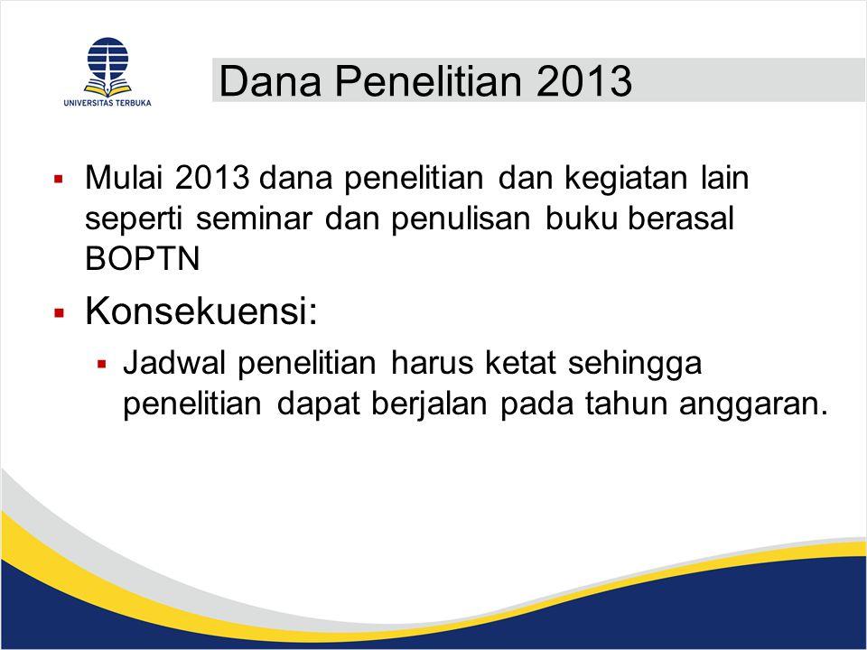 Dana Penelitian 2013 Konsekuensi: