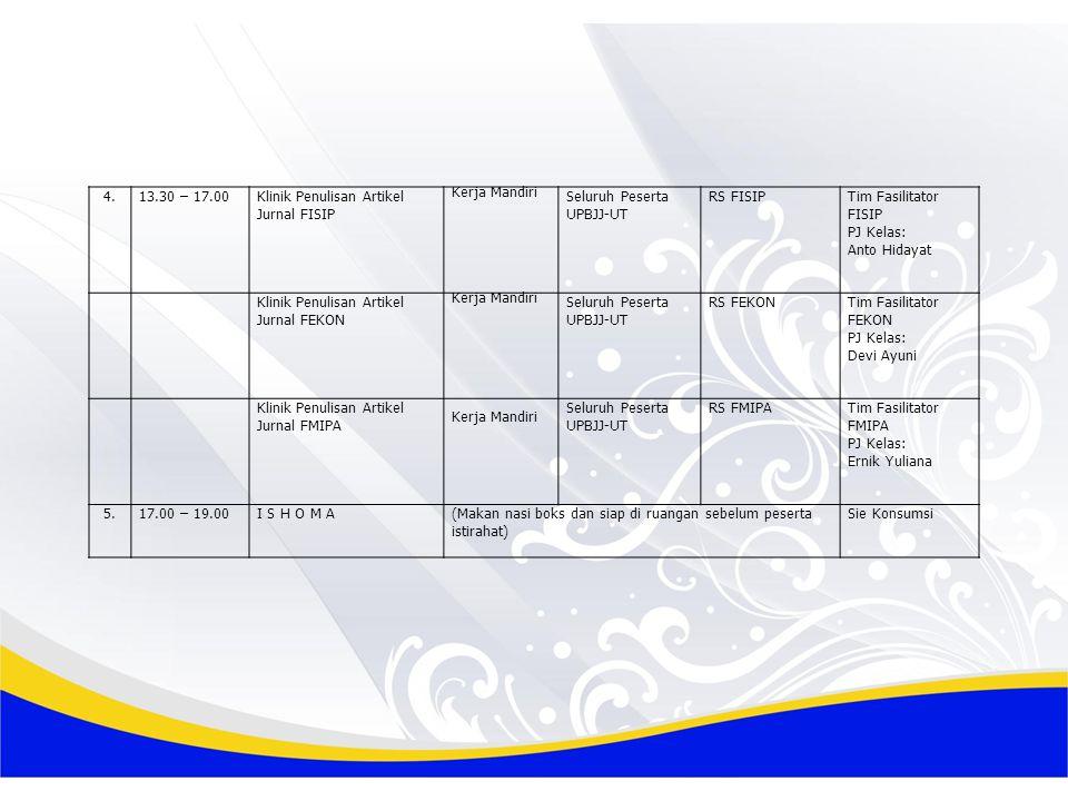 4. 13.30 – 17.00. Klinik Penulisan Artikel Jurnal FISIP. Kerja Mandiri. Seluruh Peserta. UPBJJ-UT.