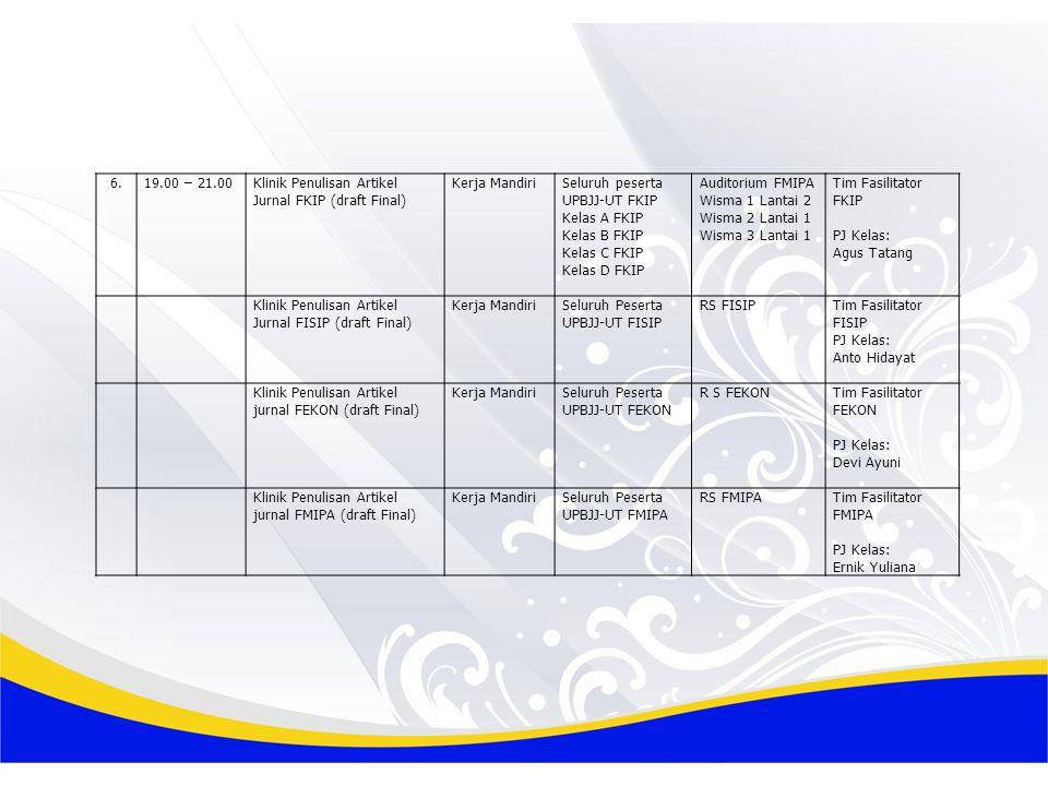 6. 19.00 – 21.00. Klinik Penulisan Artikel Jurnal FKIP (draft Final) Kerja Mandiri. Seluruh peserta UPBJJ-UT FKIP.