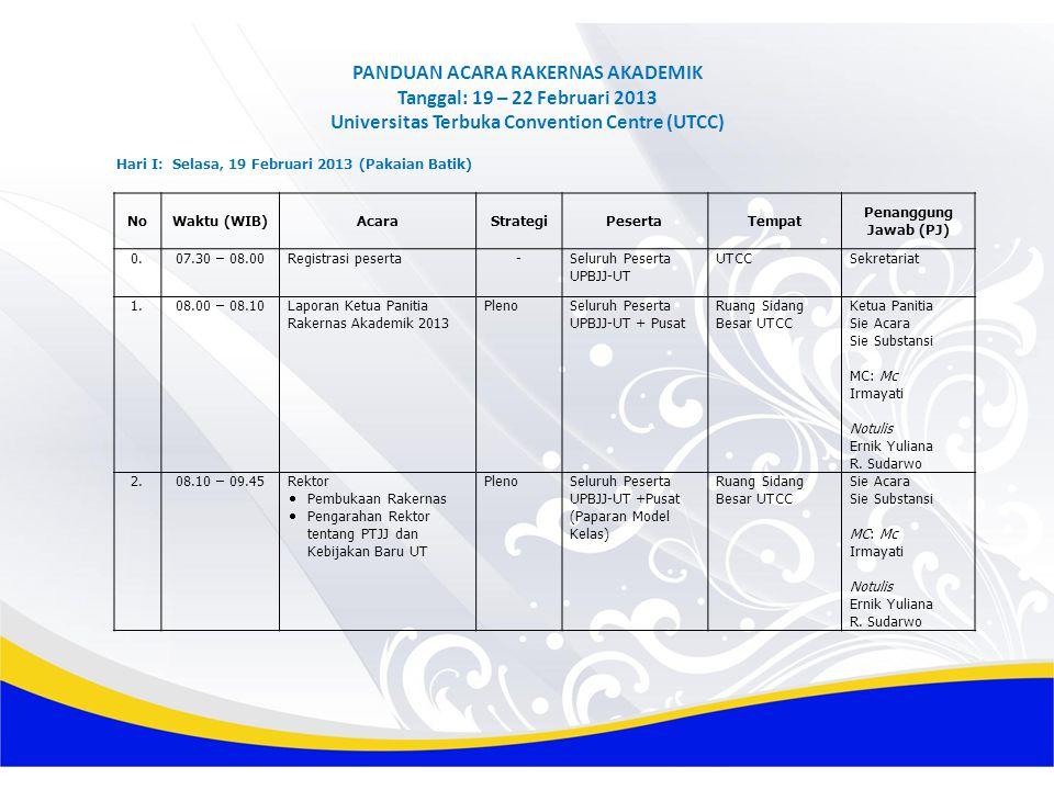 PANDUAN ACARA RAKERNAS AKADEMIK Tanggal: 19 – 22 Februari 2013 Universitas Terbuka Convention Centre (UTCC)