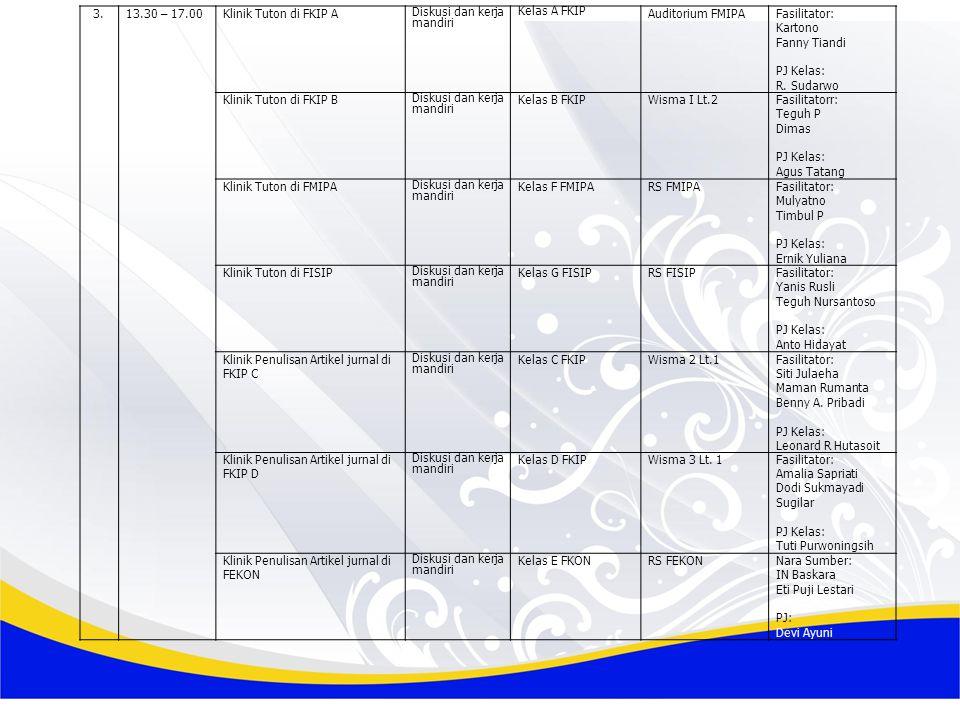3. 13.30 – 17.00. Klinik Tuton di FKIP A. Diskusi dan kerja mandiri. Kelas A FKIP. Auditorium FMIPA.