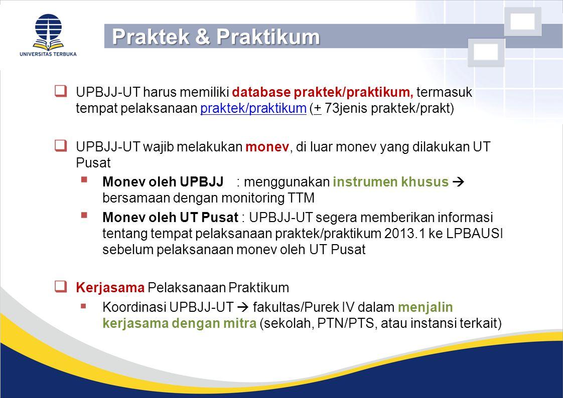Praktek & Praktikum UPBJJ-UT harus memiliki database praktek/praktikum, termasuk tempat pelaksanaan praktek/praktikum (+ 73jenis praktek/prakt)