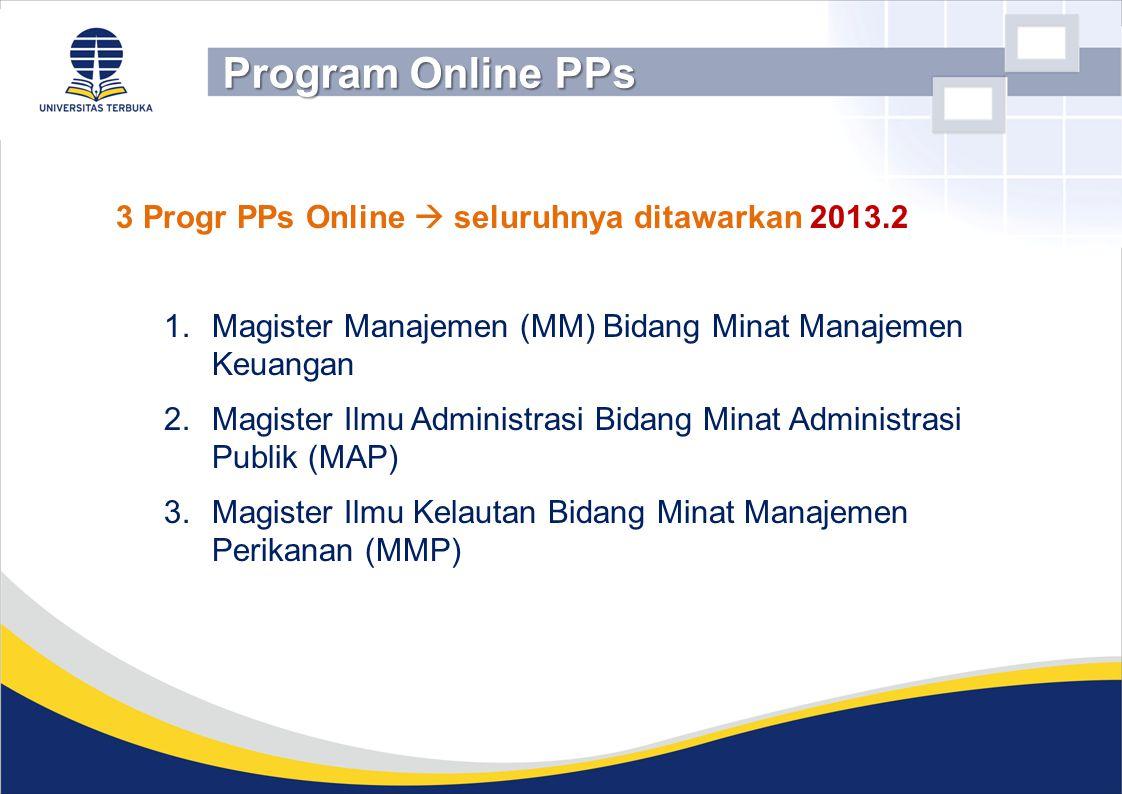 Program Online PPs 3 Progr PPs Online  seluruhnya ditawarkan 2013.2