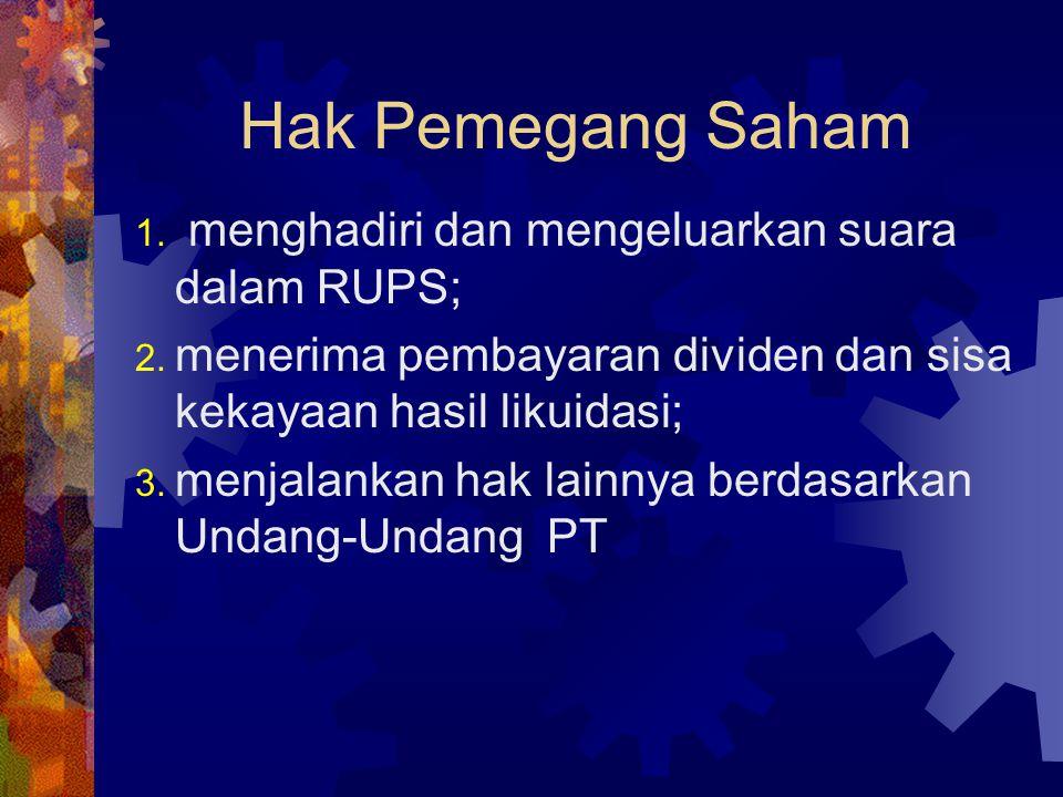 Hak Pemegang Saham menghadiri dan mengeluarkan suara dalam RUPS;