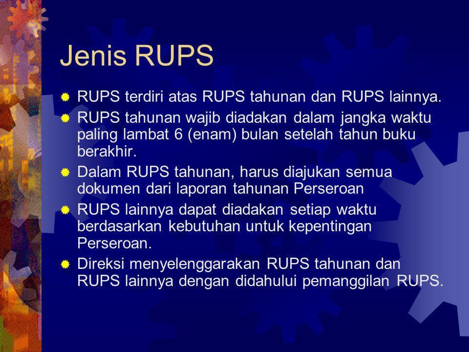 Jenis RUPS RUPS terdiri atas RUPS tahunan dan RUPS lainnya.