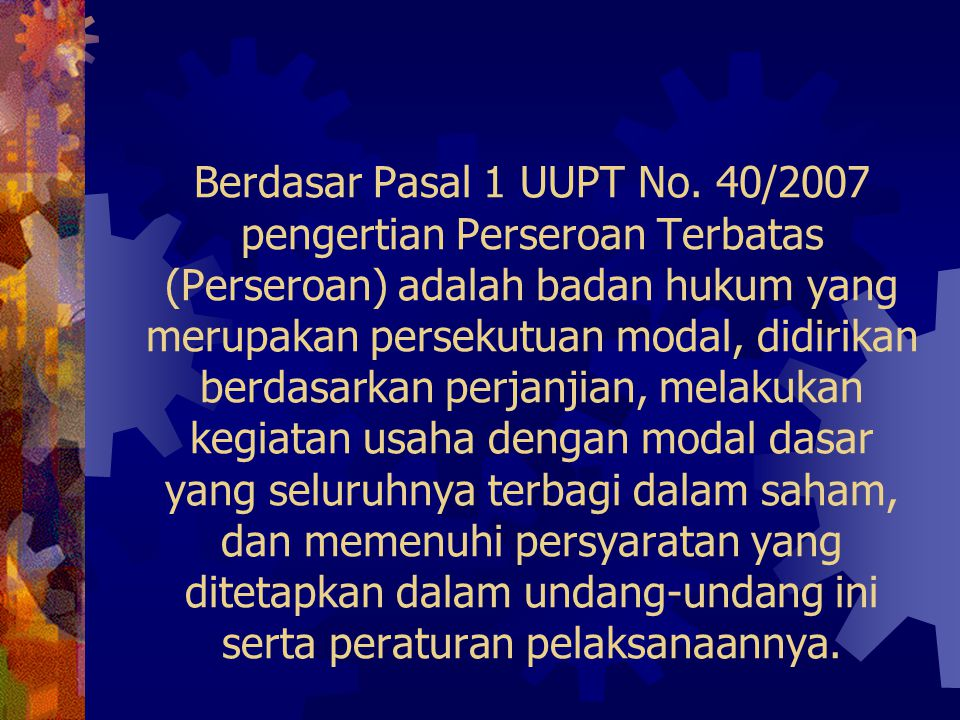 Berdasar Pasal 1 UUPT No.