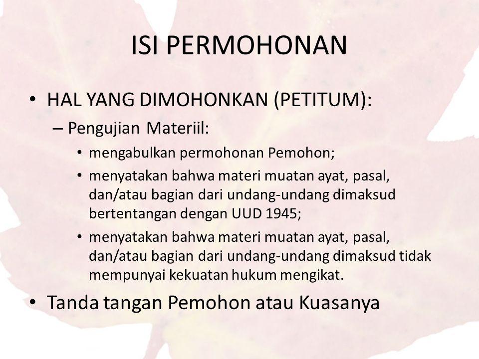 ISI PERMOHONAN HAL YANG DIMOHONKAN (PETITUM):