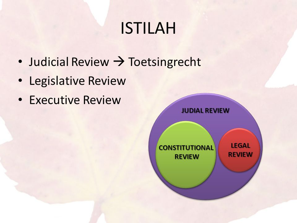 ISTILAH Judicial Review  Toetsingrecht Legislative Review