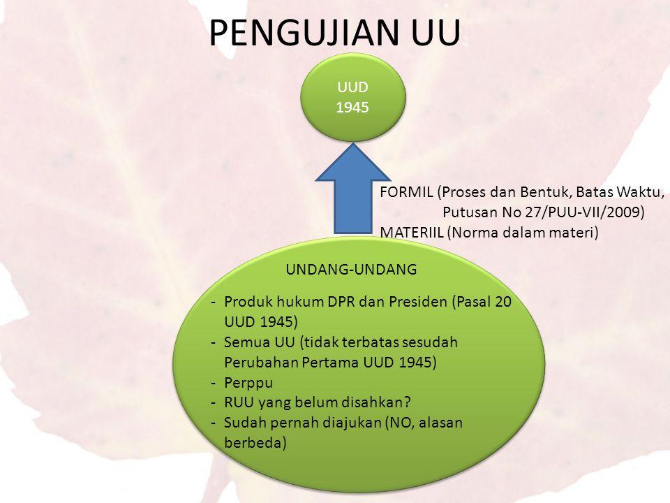 PENGUJIAN UU UUD 1945. FORMIL (Proses dan Bentuk, Batas Waktu, Putusan No 27/PUU-VII/2009) MATERIIL (Norma dalam materi)