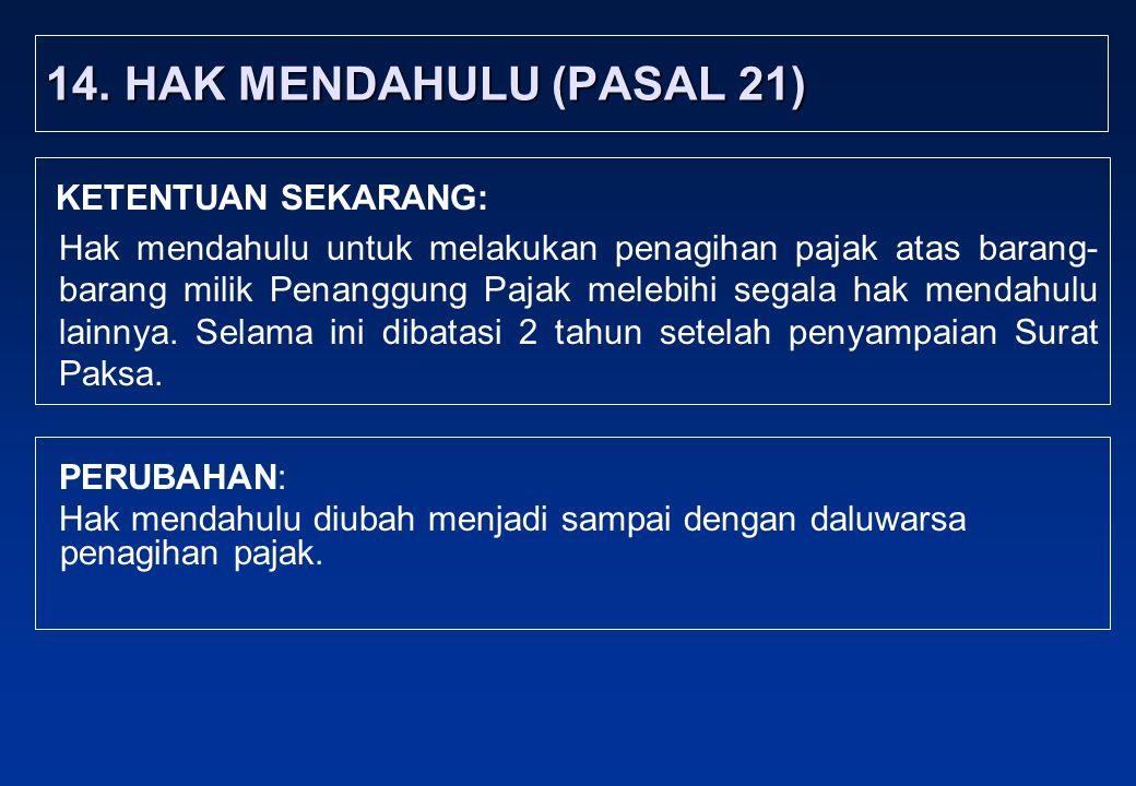 14. HAK MENDAHULU (PASAL 21) KETENTUAN SEKARANG: