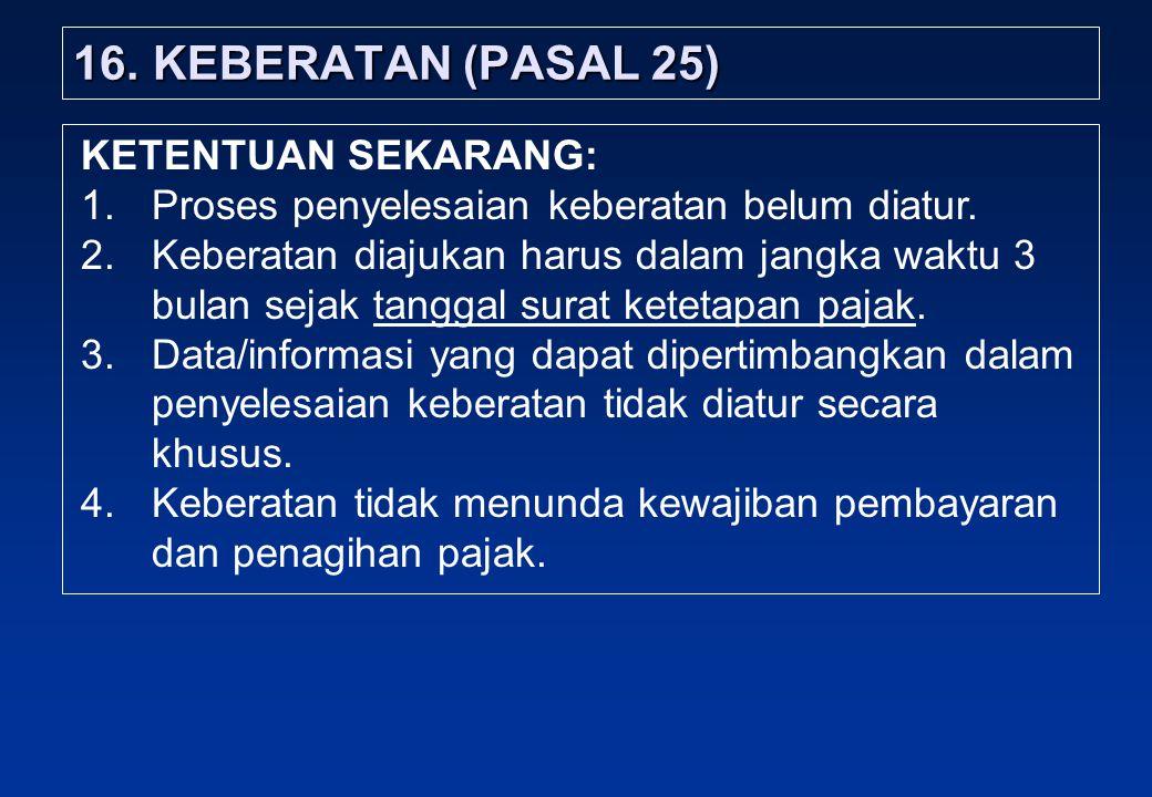 16. KEBERATAN (PASAL 25) KETENTUAN SEKARANG: