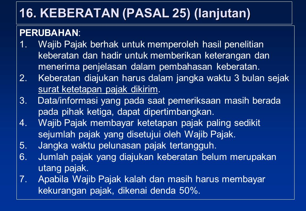 16. KEBERATAN (PASAL 25) (lanjutan)