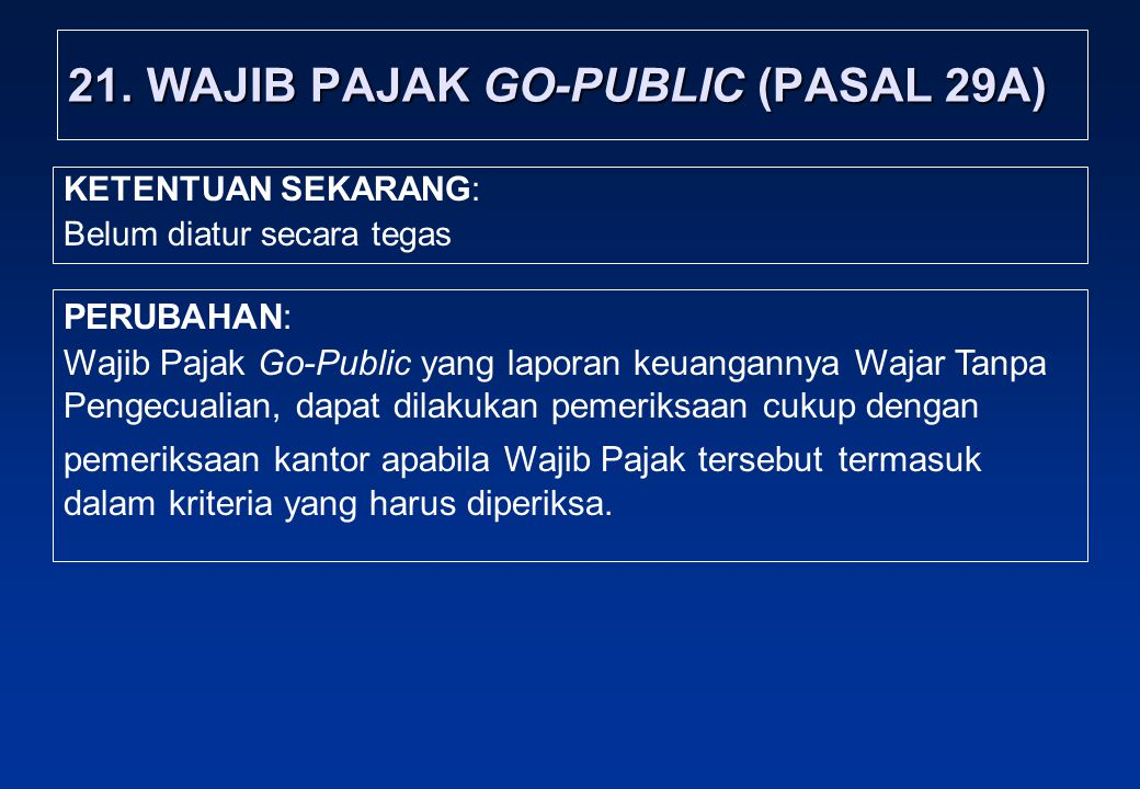21. WAJIB PAJAK GO-PUBLIC (PASAL 29A)