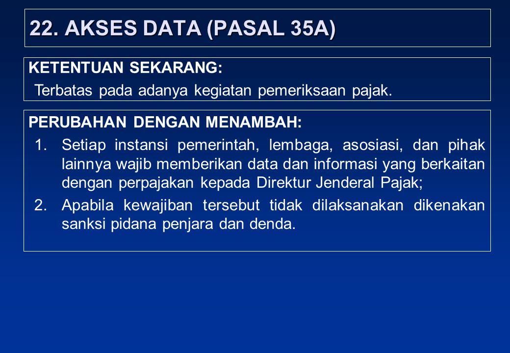 22. AKSES DATA (PASAL 35A) KETENTUAN SEKARANG: