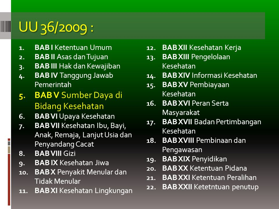 UU 36/2009 : BAB V Sumber Daya di Bidang Kesehatan