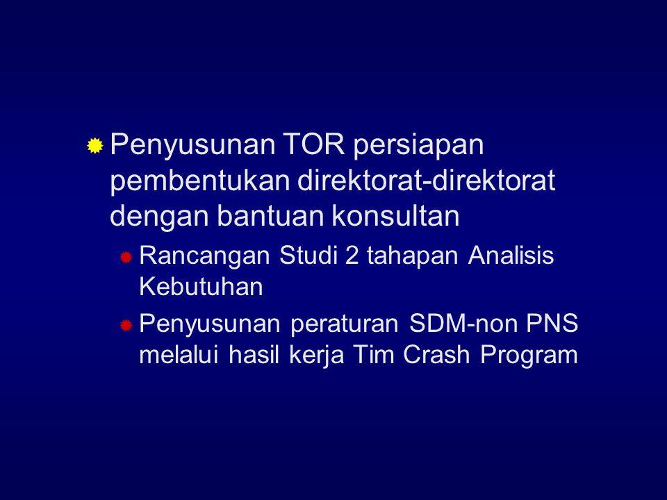 Penyusunan TOR persiapan pembentukan direktorat-direktorat dengan bantuan konsultan