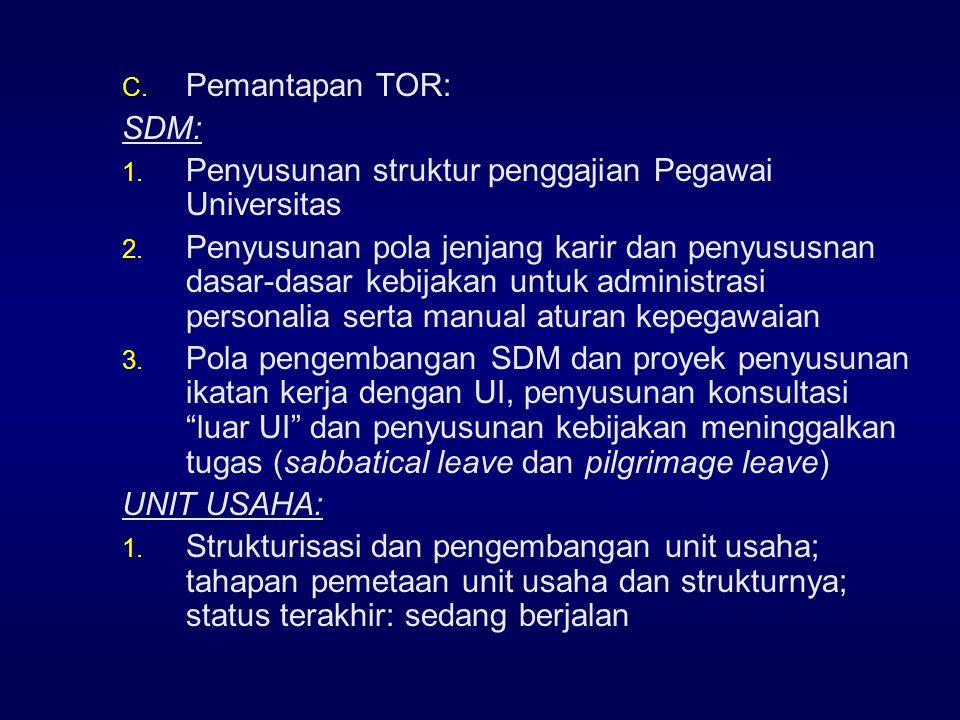 Pemantapan TOR: SDM: Penyusunan struktur penggajian Pegawai Universitas.