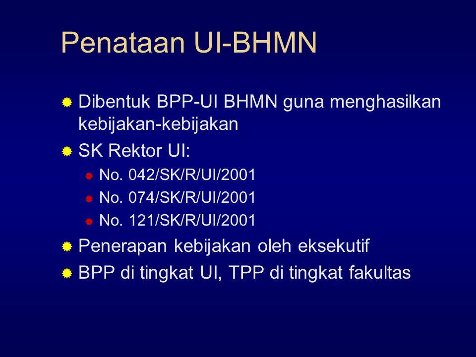 Penataan UI-BHMN Dibentuk BPP-UI BHMN guna menghasilkan kebijakan-kebijakan. SK Rektor UI: No. 042/SK/R/UI/2001.