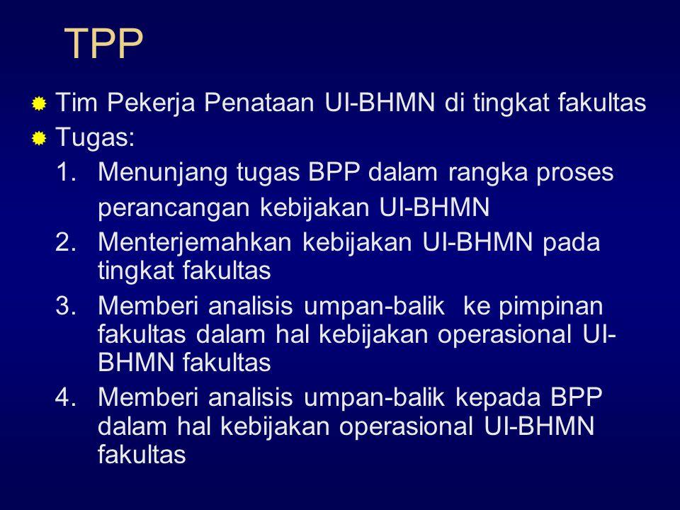TPP Tim Pekerja Penataan UI-BHMN di tingkat fakultas Tugas: