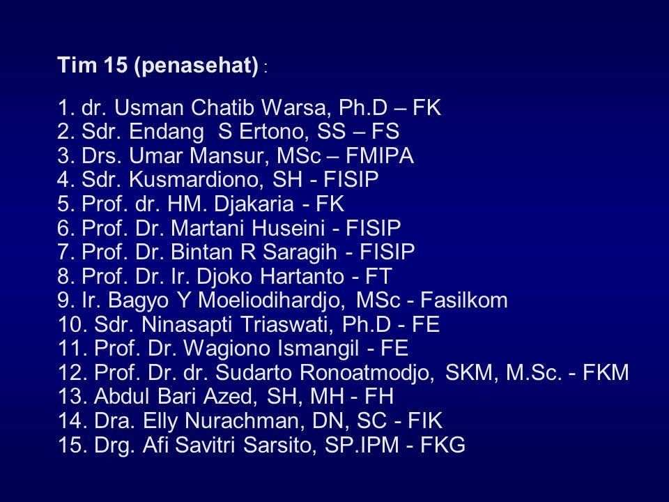 Tim 15 (penasehat) : 1. dr. Usman Chatib Warsa, Ph.D – FK. 2. Sdr. Endang S Ertono, SS – FS. 3. Drs. Umar Mansur, MSc – FMIPA.