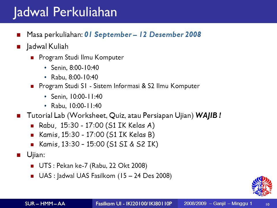 Jadwal Perkuliahan Masa perkuliahan: 01 September – 12 Desember 2008