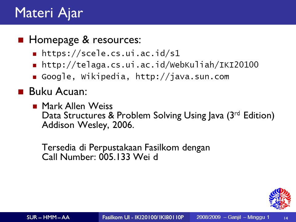 Materi Ajar Homepage & resources: Buku Acuan: