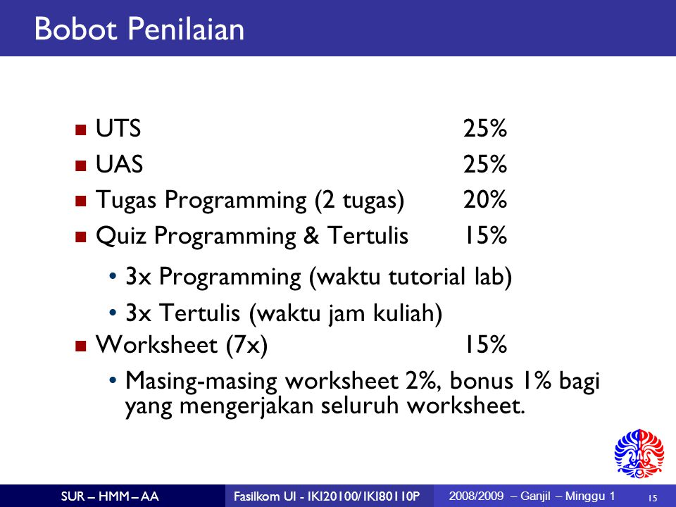 Bobot Penilaian UTS 25% UAS 25% Tugas Programming (2 tugas) 20%
