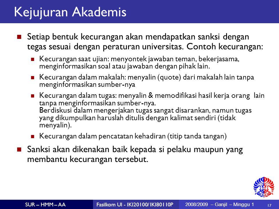 Kejujuran Akademis Setiap bentuk kecurangan akan mendapatkan sanksi dengan tegas sesuai dengan peraturan universitas. Contoh kecurangan: