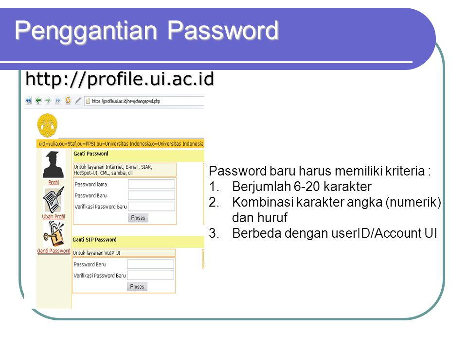 Penggantian Password http://profile.ui.ac.id
