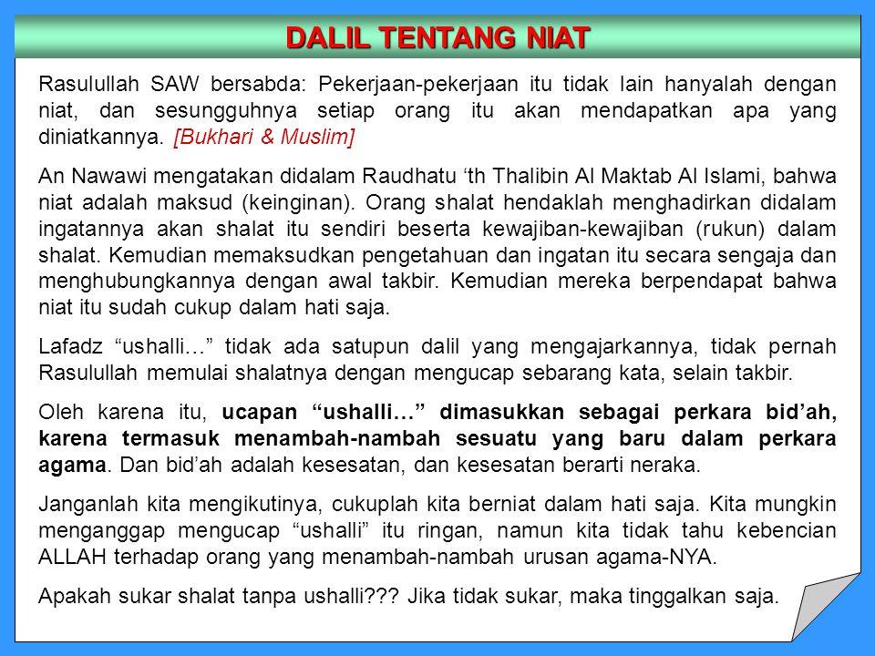 DALIL TENTANG NIAT