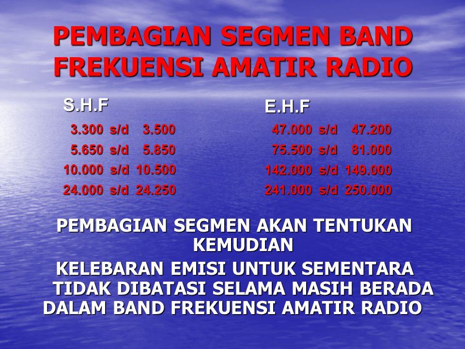 PEMBAGIAN SEGMEN BAND FREKUENSI AMATIR RADIO
