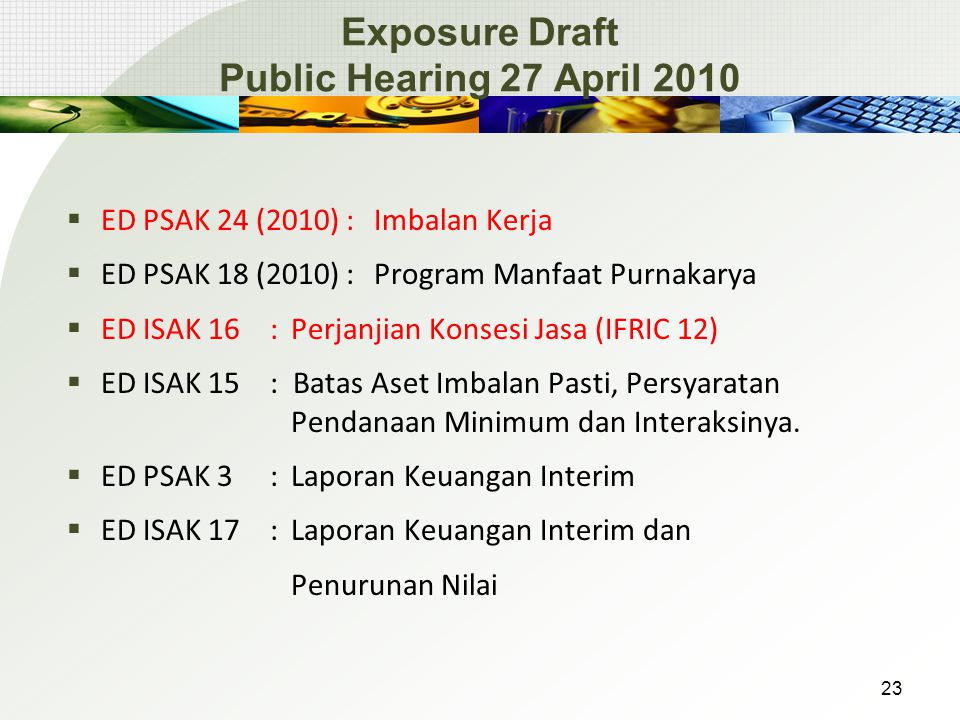 Exposure Draft Public Hearing 27 April 2010