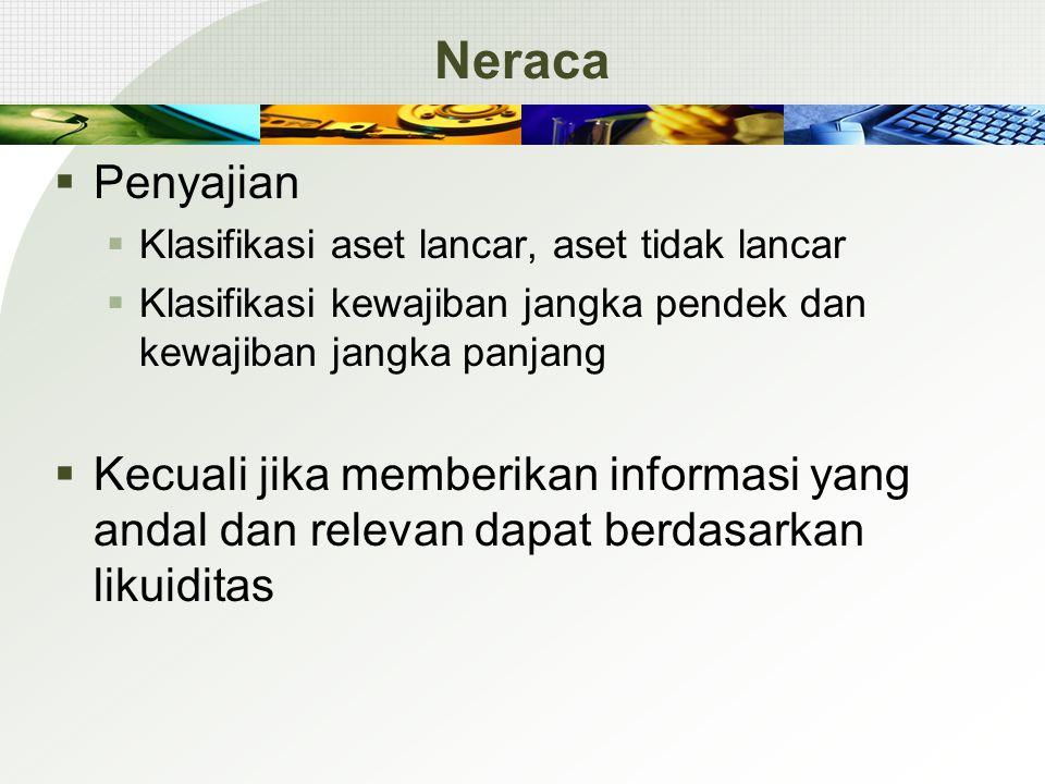 Neraca Penyajian. Klasifikasi aset lancar, aset tidak lancar. Klasifikasi kewajiban jangka pendek dan kewajiban jangka panjang.