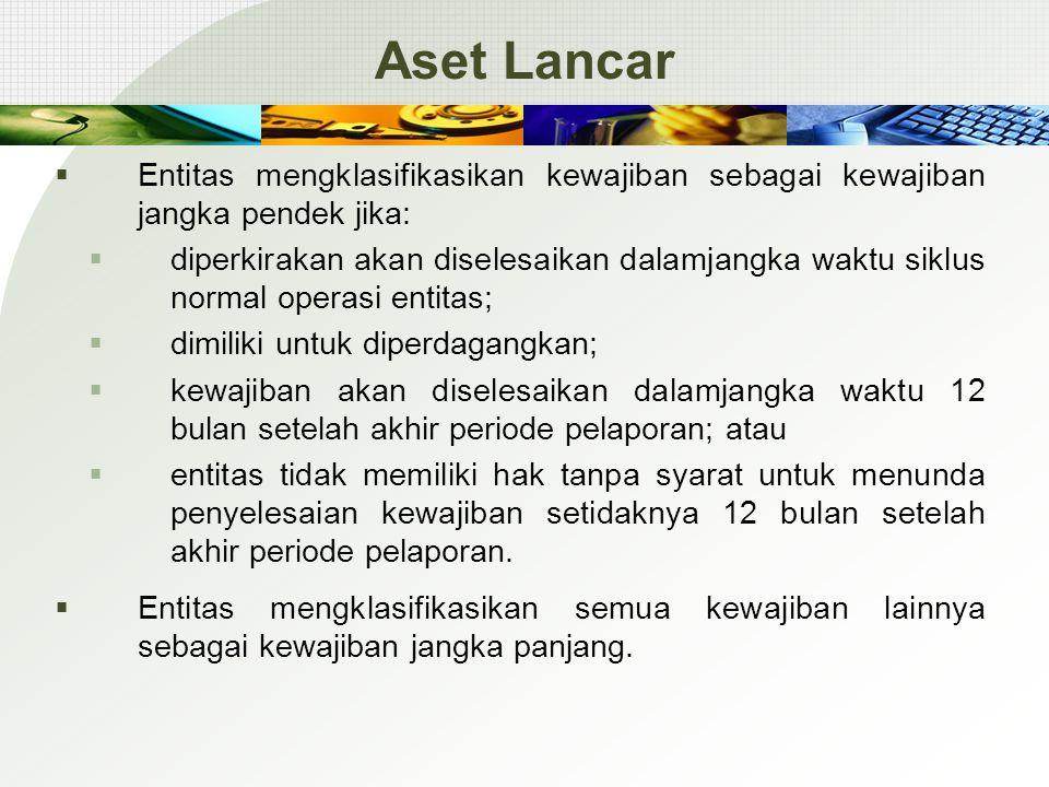 Aset Lancar Entitas mengklasifikasikan kewajiban sebagai kewajiban jangka pendek jika: