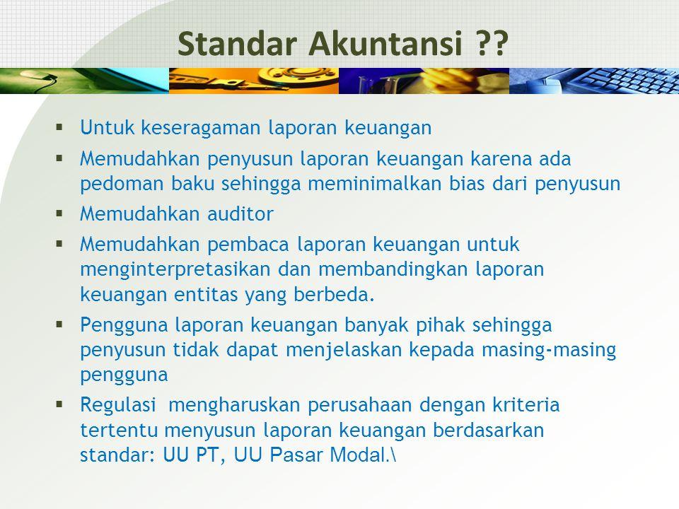 Standar Akuntansi Untuk keseragaman laporan keuangan