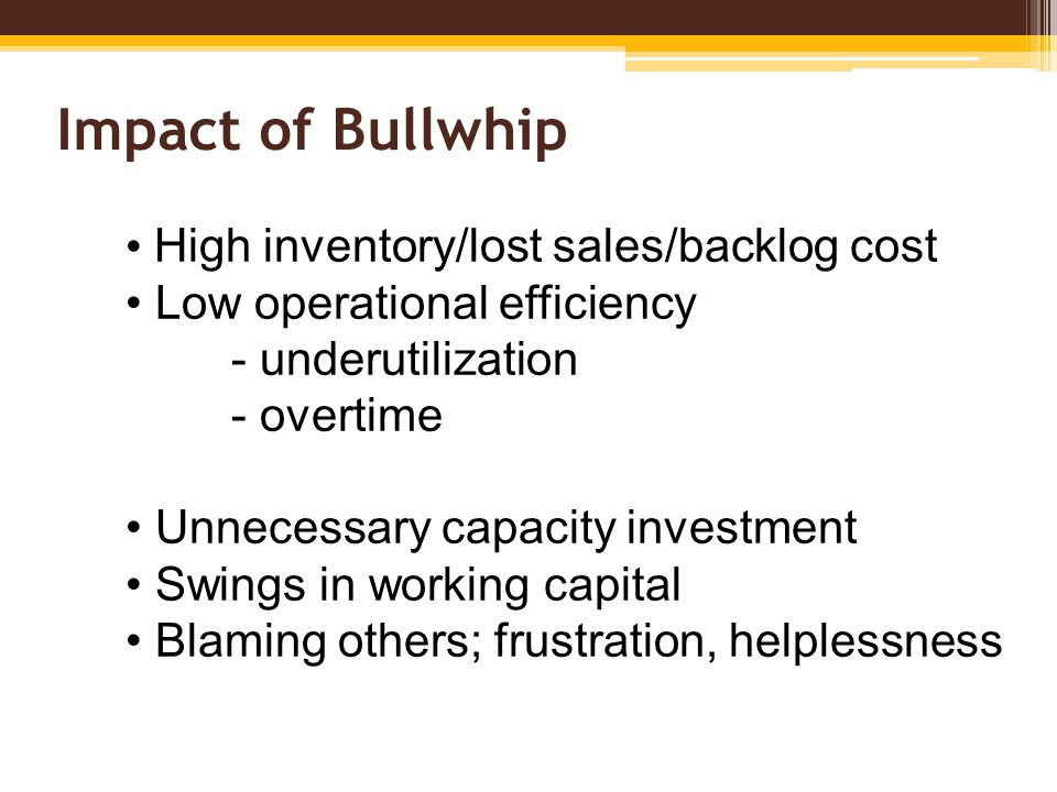 Impact of Bullwhip High inventory/lost sales/backlog cost