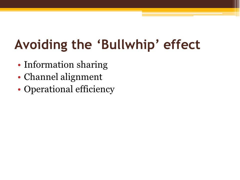 Avoiding the 'Bullwhip' effect