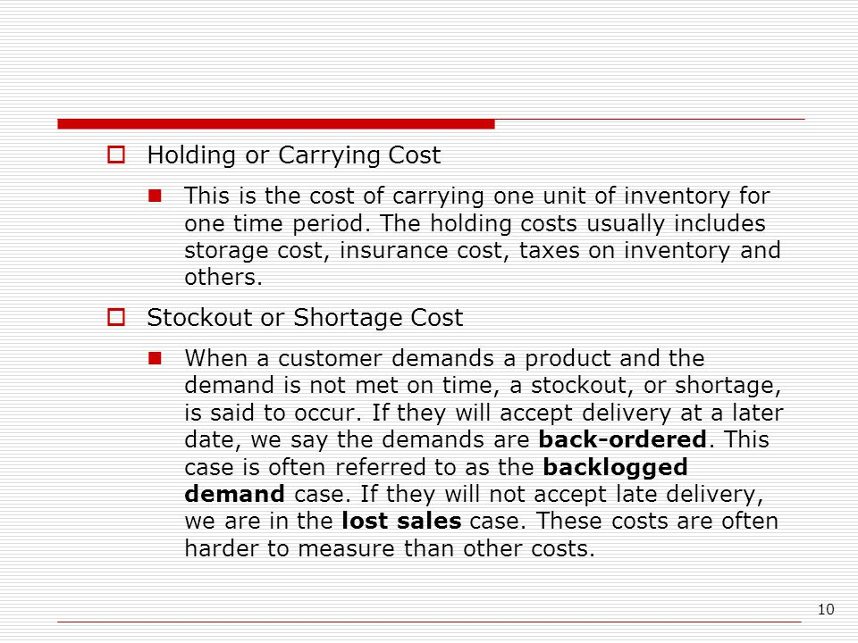 Holding or Carrying Cost
