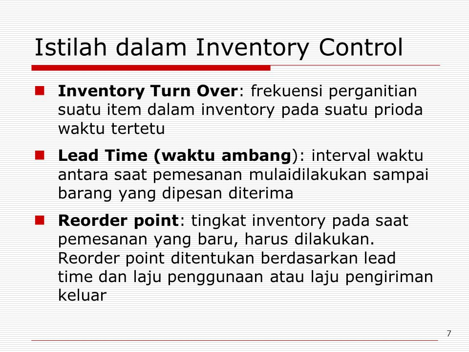 Istilah dalam Inventory Control