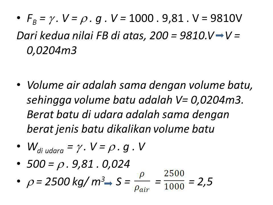 FB =  . V =  . g . V = 1000 . 9,81 . V = 9810V Dari kedua nilai FB di atas, 200 = 9810.V V = 0,0204m3.