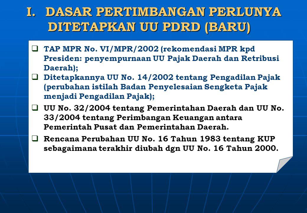 DASAR PERTIMBANGAN PERLUNYA DITETAPKAN UU PDRD (BARU)