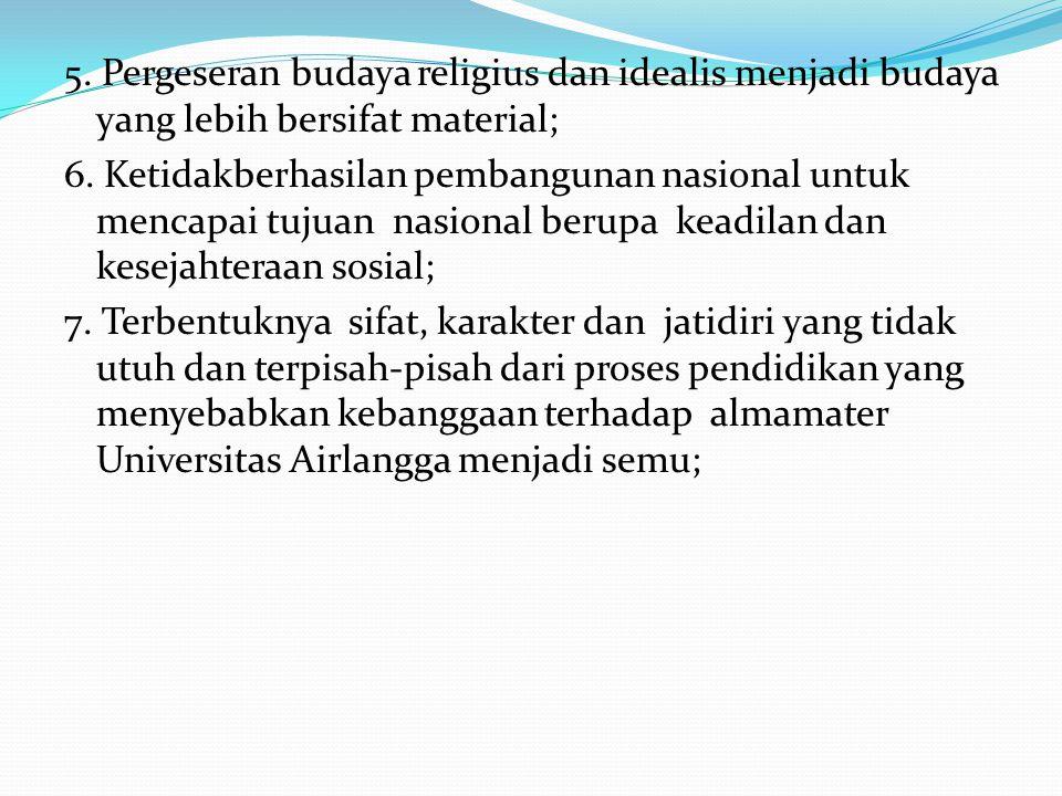 5. Pergeseran budaya religius dan idealis menjadi budaya yang lebih bersifat material; 6.