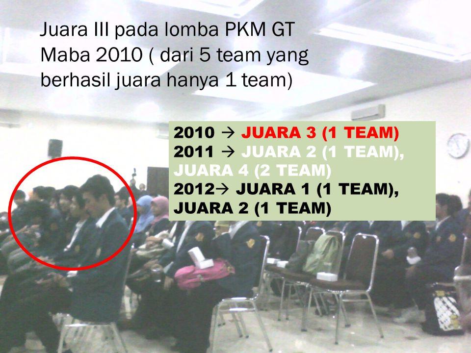 Juara III pada lomba PKM GT Maba 2010 ( dari 5 team yang berhasil juara hanya 1 team)