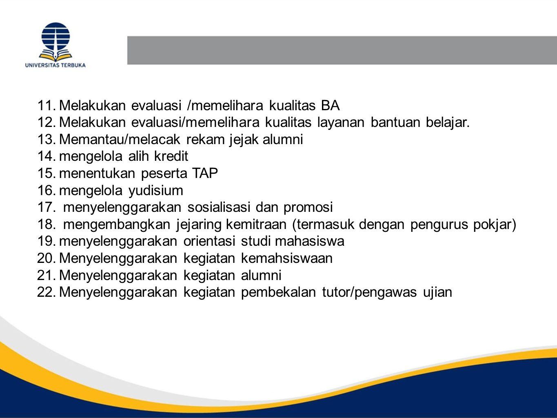 Melakukan evaluasi /memelihara kualitas BA