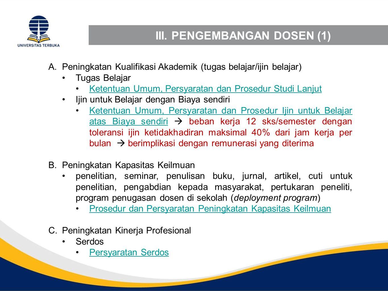 III. PENGEMBANGAN DOSEN (1)