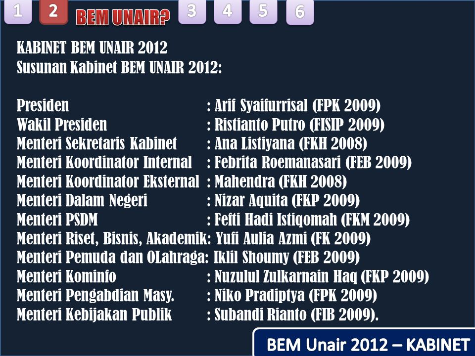 1 2 3 4 5 6 BEM UNAIR BEM Unair 2012 – KABINET KABINET BEM UNAIR 2012